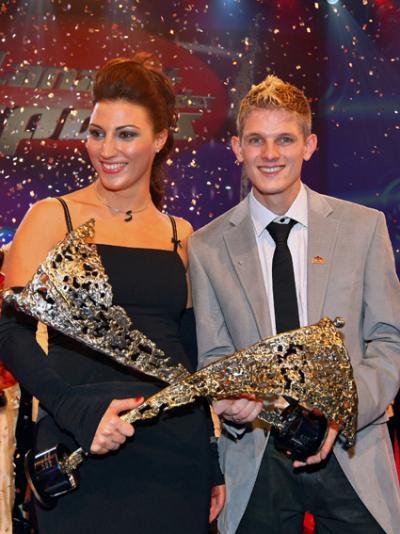 Die Sieger 2008: Sportlerin des Jahres, Mirna Jukic, und der Sportler des Jahres Thomas Morgenstern (C) GEPA pictures / Josef Bollwein