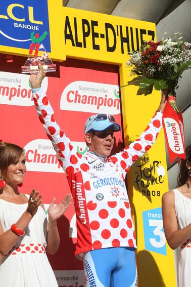 """Bernhard Kohl verteidigte das begehrte rot-gepunktete Trikot auf der legendären Bergstrecke der Tour de France """"L'Alpe d'Huez"""" (C) GEPA pictures / Herman Seidl"""