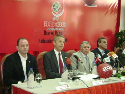 Herbert Prohaska, Reinhold Lopatka, Hassan Hamdy, Hassan Sakr informieren über die EURO (C) StS Sport