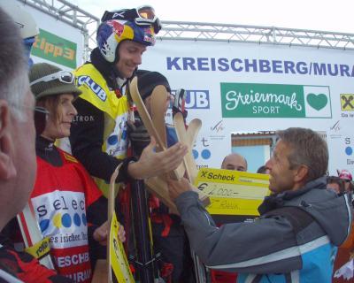 Siegerehrung der Herren beim FIS SkiCross Weltcup am Kreischberg (C) Alfred Taucher