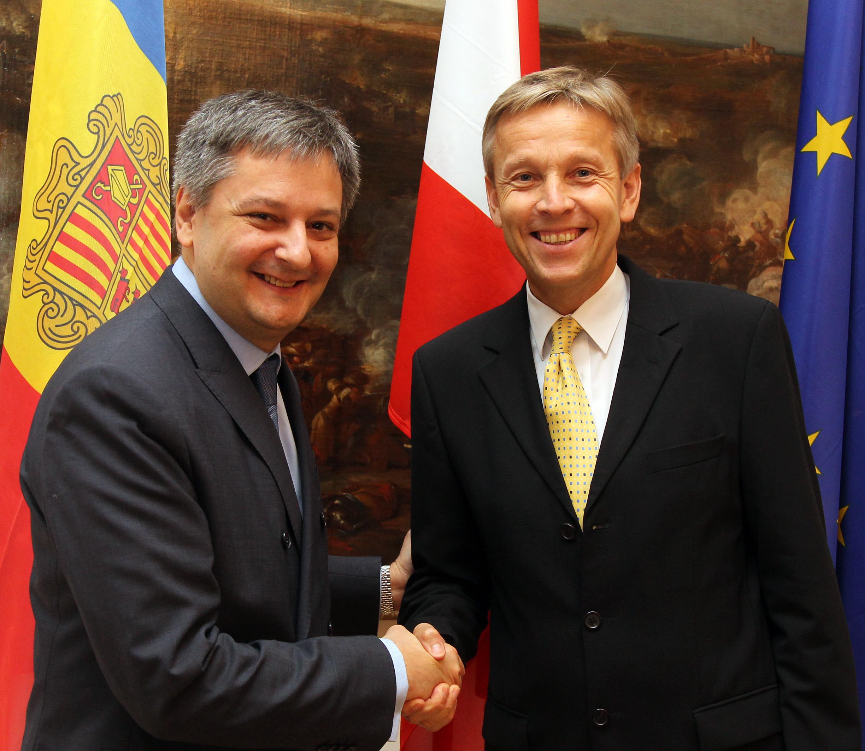 (c) BMEIA, STS Lopatka trifft Gilbert Saboya, den Außenminister des Fürstentums Andorra