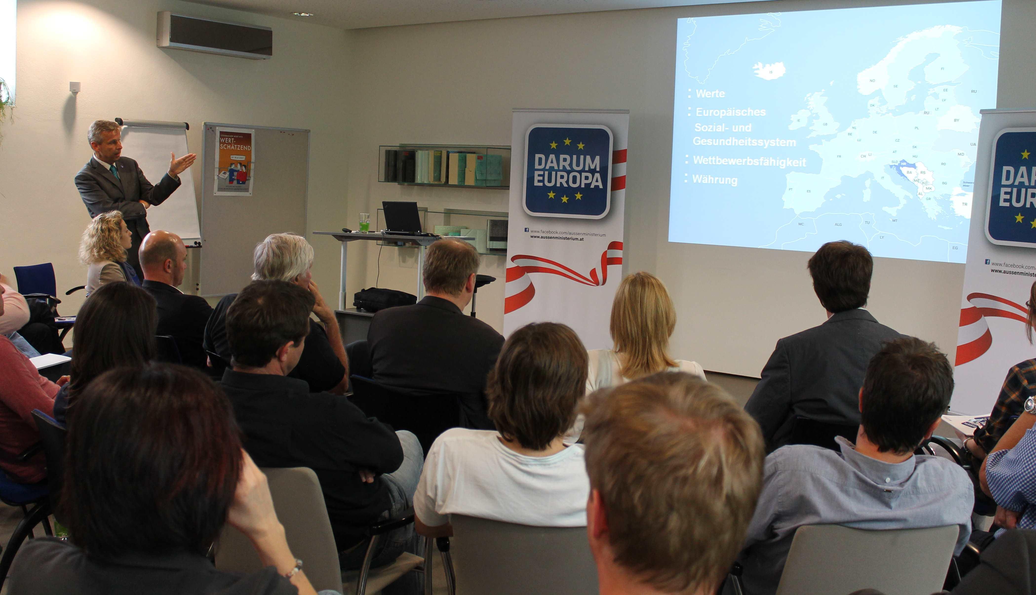 (c) BMEIA auf Darum Europa Tour bei Steinbacher Dämmstoffen inTirol